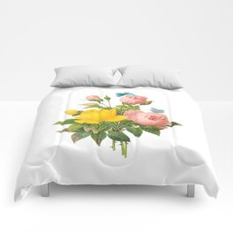 Vintage Pink and Yellow Roses [08] Comforters