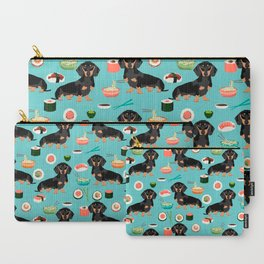 dachshund sushi black and tan doxie dog breed cute pattern gifts Carry-All Pouch