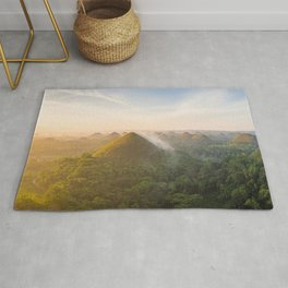 Panoramic landscape of the Chocolate Hills in Bohol   The Philippines travel photography Rug