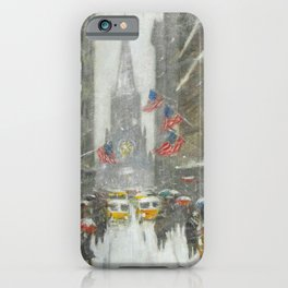 Wall Street and the Sub-Treasury winter landscape painting by Guy Carleton Wiggins iPhone Case