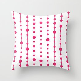 Pink vertical lines and dots Throw Pillow