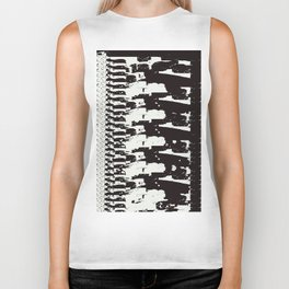 Black and White Distorted Zipper Design Biker Tank