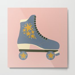 Retro Star Skate- Baby Pink and Blue Metal Print