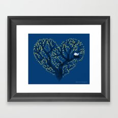 Home is where the nest is - on blue Framed Art Print