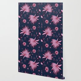 Orchid and navy floral Wallpaper