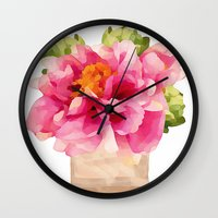 peonies Wall Clocks featuring Peonies  by Xchange Art Studio