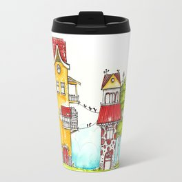Colourful houses Travel Mug