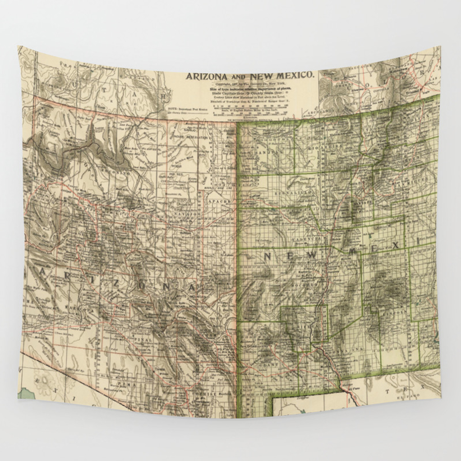 Vintage Map of Arizona and New Mexico (1899) Wall Tapestry