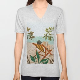 Vacay Book Club #illustration #tropical Unisex V-Neck