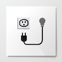 Electric plug outlet making a shocking face Metal Print