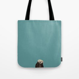 Cute Sea Otter on Teal Solid. Minimalist. Costal. Adorable. Tote Bag