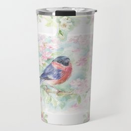 Bullfinch Bird in the Rose Garden Travel Mug