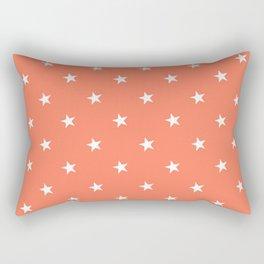 White X Orange Polka Stars Rectangular Pillow