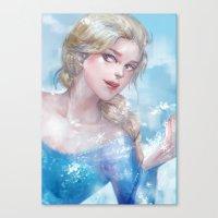 frozen elsa Canvas Prints featuring Frozen Elsa by x3uu