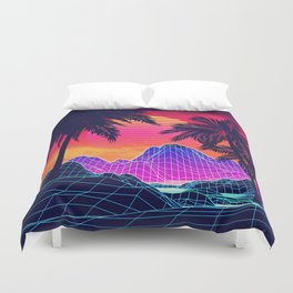 Neon glowing grid rocks and palm trees, futuristic landscape design Duvet Cover