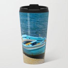 Blue Boat on Mykonos Island Greece Travel Mug