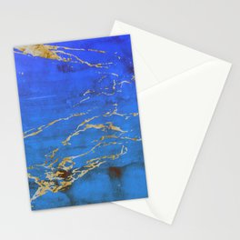 Sky Blue Marble With 24-Karat Gold Nugget Veins Stationery Cards