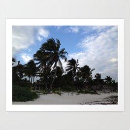 Tulum (wind-blown palm trees) Art Print