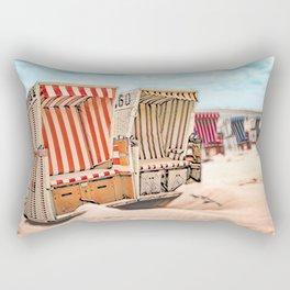 Baltrum Beach Huts, Germany Rectangular Pillow