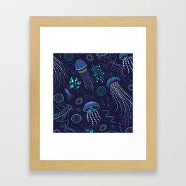 Into the Deep Jellies - Navy Framed Art Print