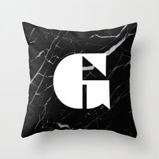 Black Marble - Alphabet G Throw Pillow