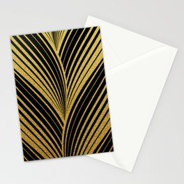 Golden leaves, gold glitter abstract waves illustration pattern Stationery Cards