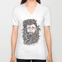 beard V-neck T-shirts featuring BEARD by Leah Cooper