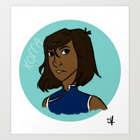 the legend of korra Art Prints featuring Korra by simone kett