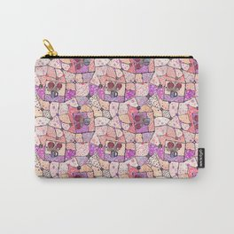 Vintage Grandma Quilt, Textured Watercolor Lavender Purple Flower Quilting Pattern Illustration Carry-All Pouch