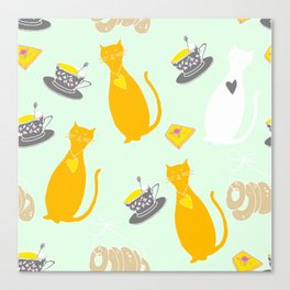 Cool Cats Coffee and Chessse party Artwork Canvas Print