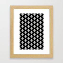 Glitter Grey Aliens Framed Art Print