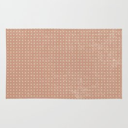 Vintage peach ivory polka dots brushstrokes pattern Rug