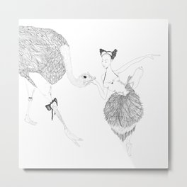The Dancer and the Ostrich Metal Print