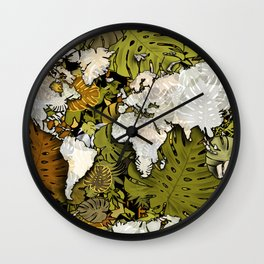 world map tropical leaves 5 Wall Clock
