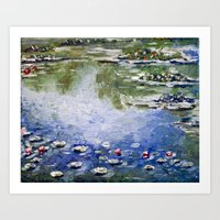 monet Art Prints featuring Missing Monet by Olya Krasavina