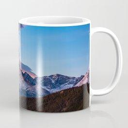 Fire on the Mountain - Sunrise Illuminates Cloud Over Longs Peak in Colorado Coffee Mug