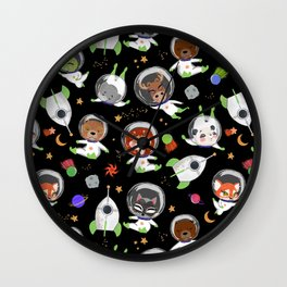 Animal Astronauts In Outer Space Black Green Wall Clock