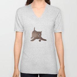 Happy kitten plays with a ball - minimalist illustration Unisex V-Neck