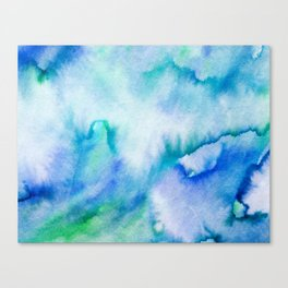 Watercolor texture - blue and turquoise Canvas Print