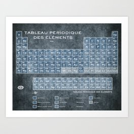 Tableau Periodiques Periodic Table Of The Elements Vintage Chart Blue Art Print