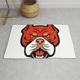 Red Tiger Bulldog Head Front Mascot Rug