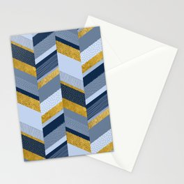 Chevron with Textures / Gold Effect and Denim Blue Stationery Cards