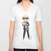 karl lagerfeld V-neck T-shirts featuring Little Karl Lagerfeld by KahriAnne Kerr