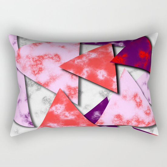 Triangles Layered Pattern in Red Purple and Pink Rectangular Pillow
