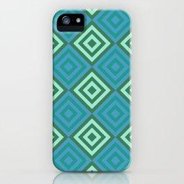 Blue Geometric Diamonds Layered Digital Pattern iPhone Case