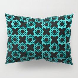 Retro. Black and turquoise satin ornament . Pillow Sham