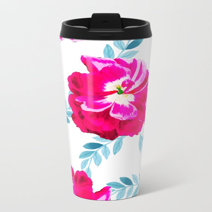 Fluorescent Florals #society6 #decor #buyart Metal Travel Mug