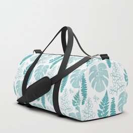 Pale tropical leaves and ferns Duffle Bag