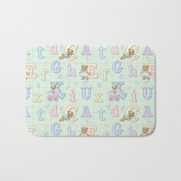 Teddy Bear Alphabet ABC's Green Bath Mat