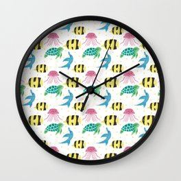 Colorful pink yellow black fish dolphin turtle nautical pattern Wall Clock